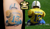 Portrait Tattoo (poposhoes.nl) Tags: blue color loss yellow shop tattoo studio death football child leg player jersey parlor photorealism memorialtattoo lesdavidson live2imagine tylerhoughton imissyoutylerhoughton