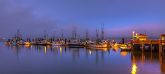 Government Wharf, (Paul Rioux) Tags: bc britishcolumbia sooke westcoast waterfront fishingvillage fishing marina marine boat boats night lights bluehour calmwater reflection reflections vessels moored morning daybreak governmentwharf fog prioux