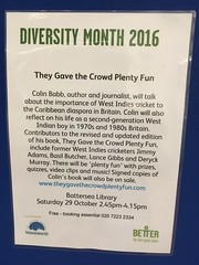 Battersea library, October 2016 (They Gave the Crowd Plenty Fun) Tags: london cricket wandsworth battersea talk booksigning hansib