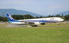 All Nippon Airways. JA779A. Boeing 777-381(ER). NH9409. (Themarcogoon49) Tags: ana boeing b777 b77w aircraft landing gva airport cointrin lsgg switzerland avgeek planespotting