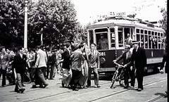 Thief Apprehended, Rome. 1947. (ManOfYorkshire) Tags: thebycyclethieves 1947 film cinema celebrated classic finest awardwinning tram rome 581 crowd scene arrest man thief apprehended citizens italy italian route2 route3 tramcar electric trolley