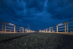 A bridge. (LeonByTheSea) Tags: night bridge lights blue grey lowangle kiel