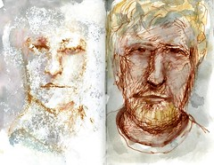 A Portrait of a Man (Cambridge Room at the Cambridge Public Library) Tags: portrait penandinkdrawings watercolor watercolorspaintings arnolddorothy dorothyarnold cambridgemass cambridge cambridgemassachusetts artistjournals