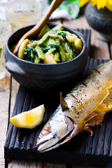 mackerel - a grill with braised vegetables (Zoryanchik) Tags: mackerel grilled fish baked food healthy cuisine dinner lunch meal grill seafood sea gourmet plate cooking prepared fresh delicious restaurant spice cooked fried barbecue oily diet