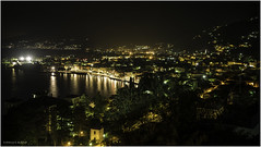Gravedona at Night (Luc V. de Zeeuw) Tags: comolake dark gravedona lights mountain night streetlight water lombardia italy