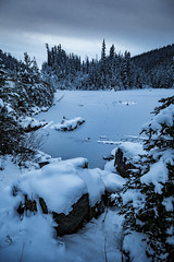 Winter is Coming (robertdownie) Tags: trees canada lake forest mountains winter water reflection cold clouds gold snow woods ice bc hills cabin wilderness britishcolumbia remote mountans wells barkerville bowron cariboo