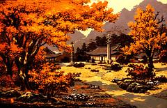 Le temple Pohyon en automn - Jang Jong Sik - Gravure (nokoredstar) Tags: aquarelle peinture coréedunord pyongyang paysage broderie