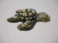 Sea Turtle (LynzCraftz) Tags: polymerclay pendant resin art acrylicpaint oneofakind handmade