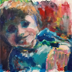 Child Portrait Study [20161120] 20161120_141156c (rodneyvdb) Tags: abstracted acrylic art canvas child contemporary contemporaryart expression expressionism eyes face figurative fineart hands happy impressionism modern modernart painting portrait smile