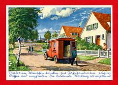 Werbepostkarte von Eduscho Kaffee (altpapiersammler) Tags: werbung advertising ad reklame postkarte postcard kaffee postauto vintage old alt eduscho zeichnung drawing draw