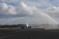 Water cannon (Don McDougall) Tags: donmcdougall caymanislands cayman caymanairways grandcayman owenrobertsinternationalairport oria cal aviation flight transport christening celebration airline