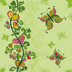 Hand-drawn seamless pattern (PicciaNeri) Tags: seamless background pattern bloom doodle tileable endless blossom floral drawing vector decor handdrawn botany repeat spring garden leaf summer tile butterfly sketch summertime pink repetition decoration wallpaper green petal yellow nature flower