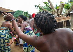 Benin, West Africa, Bopa, women dancing during a traditional voodoo ceremony (Eric Lafforgue) Tags: africa people color festival horizontal female religious outdoors dance community women worship colorful dancing spirit african traditional religion performance ceremony dancer womenonly event textile westafrica ritual benin spirituality tradition cloth spiritual groupofpeople cultures priestess voodoo trance ceremonial vodoun voodou voudou realpeople bopa vodou colourimage africanethnicity vodon  vudun    alidalatham benin4925