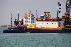 Tugboat Pioneerland & Barge Crow (thetrick113) Tags: lighthouse water harbor lakeerie crane greatlakes tugboat crow barge pioneerland lorainlighthouse lorainohio lorainharbor marineconstruction loraincountyohio deckbarge geogradelco sonyslta65v tugboatpioneerland geogradel bargecrow