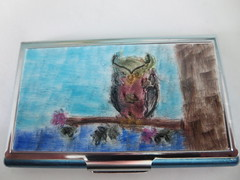 owl card case (playsculptlive) Tags: polymerclay owl pcagoe playsculptlive