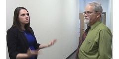 Sara Cotton and Neil McDonald teachers- Up on High Ground Syndicated TV Series (bryankreutz_77) Tags: goatee glasses actors tv hallway actress actor tvshow discussion teachers explaining tvdrama