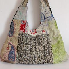 Bag kantha patchwork blues green navy1 (Roxy Creations) Tags: vintage bag quilt handmade gift patchwork tote kantha shoulderbag handembroidered