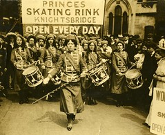 Womens Social & Political Union (WSPU) Fife and Drum band marching, 1909.