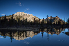 Mirror of Life (Explored Nov 15) (Canon Queen Rocks (1,100,000 + views)) Tags: reflections water pond mtlauretteponds mountains outdoors landscape landscapes clouds alberta canada beautiful nature kananaskis dawn morning sky serene mountain outdoor blue