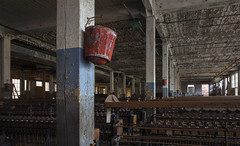 Fire Bucket  -  Lonaconing Silk Mill (fotographis) Tags: leica blue red architecture bucket factory decay lonaconing delapidated leicam silkmill 21mmelmaritmasph leicam240
