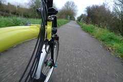 On the Phoenix Trail (cycle.nut66) Tags: leica black phoenix bike bicycle wheel yellow lumix cycling movement ride small panasonic chain route summicron trail riding cables national cycle gears folder folding 57 t6 brompton sustrans mudguard pantour lx3
