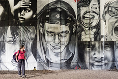 Hoodie (World of Tim) Tags: road camera city uk bridge pink england white black west london art girl thames digital portraits work canon river walking concrete photography for graffiti town fly photo tim back hoodie artwork artist photographer elizabeth looking britain walk top united great under over large royal kingdom photographic powershot september queen made pack ii backpack gb windsor olympics cosmo berkshire sept flyover bypass compact 2012 saunders sarson 2015 a332 s120