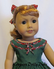 Close up of 1950s Christmas Dress (Keepersdollyduds) Tags: christmas dress 1950s frock plaid rayon moire bows maryellen bias keepers americangirldoll keepersdollyduds