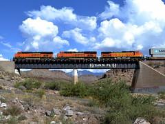Kingman Canyon (Vinny Gragg) Tags: railroad bridge arizona cloud mountain mountains santafe clouds train desert engine railway loco trains canyon locomotive choochoo kingman kingmanarizona kingmancanyon cloudsl bnsf7953