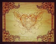 Ararsko Pirografia. Compensato di pioppo 30x40. (vivianmiliziano) Tags: wood bird love idea madera drawing regalo legno fireart pirogravura pirografia pirography