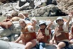 35-698 (ndpa / s. lundeen, archivist) Tags: nick dewolf nickdewolf color photographbynickdewolf 1970s 1973 1972 film 35mm 35 reel35 arizona northernarizona southwesternunitedstates canyon marblecanyon grandcanyon coloradoriver raftingtrip raftingexpedition rafting river riverrafting raft inflatable sanderson sandersonraftingexpeditions sandersonriverexpeditions srig people lifejackets lifepreservers floatationdevices watersedge riversedge riverbank rocks rocky blurry outoffocus man men child wave waving sunglasses shades hat hats