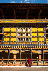 Galleries in Paro Dzong (whitworth images) Tags: painted administration scarlet asia buddhist paro dzong person himalayas monastery carved bhutan wooden red rinpongdzong traditional male buddhism fortress robe travel galleries decorated himalaya architecture crimson monk yellow man parodzong parodzongkhag