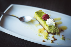 Matcha cheese cake :) (Playing_with_light) Tags: kinoya izakaya pub japenese food montreal nikon d800 matcha tea cheese cake