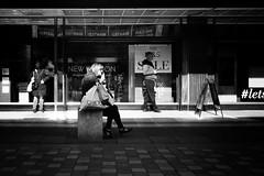 Be Seated (stephen cosh) Tags: 50mmsummicronapo analogue blackandwhite candid film glasgow kodaktmax100 kodakhc110 leicam7 people scotland stephencosh streetphotography