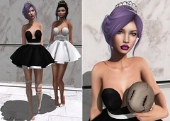 We're ready for prom! (niahren) Tags: prom queen queens dress fluffy skirt bow hair updo purple black white boots straps empire nocturnia mask bloody horror bloodyhorror fair shadows marble rama slink catwa tiara silver necklace choker villena kustom9