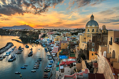 Corricella Sunset (davecurry8) Tags: procida italy italia island bayofnaples marinacorricella church chiesa