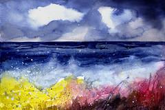 Seaside 1 (Tonya Doughty) Tags: painting seaside ocean pacific stormy watercolor
