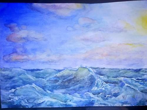 ▪My #sea waves. Done!)▪Закончила #море и #волны .  Вода всё-таки, на мой взгляд - самое увлекательное из всего, что рисовала когда-либо, она каждый раз такая разная)?#landscape  #sky #🌊 #голубой #волна #green#violet #рисунок #blue#aquarelle #art#мор