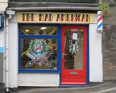 Barber Launceston Cornwall IMG_9044 (rowchester) Tags: mad american barber launceston cornwall pole surgeon hairdresser shopsalon scissors razor red white blue