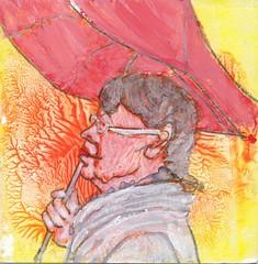 # 337 (02-12-2016) (h e r m a n) Tags: herman illustratie tekening bock oosterhout zwembad 10x10cm 3651tekenevent tegeltje drawing illustration karton carton cardboard vrouw woman paraplu umbrella portrait portret