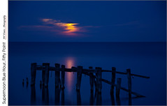 Blue Hour Supermoon, Fifty Point (jwvraets) Tags: supermoon moon moonrise fiftypoint groyne bluehour lakeontario cloudy opensource rawtherapee gimp nikon d7100 nikkor18105mmvr