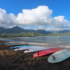 Hanalei Bay (russ david) Tags: hanalei bay pier ocean beach surfboard surf kauai hawaii hi september 2016 pacific ハワイ 風景