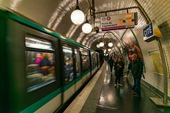 Cité - Line 4 Paris (Aleem Yousaf) Tags: clignancourt porte cité line paris metro station commuters train architecture people france d800 nikon 1835mm motion movement transport system indoor