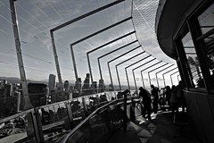 The Angle Of The Curve (Art By Pem Photography: Tao Of The Wandering Eye) Tags: fineartphotography canon canoneosrebelsl1 eos sl1 travel usa seattle washington spaceneedle tower observationdeck angles lines curve pattern shadow shadows light people buildings city cities tourists citylife blackandwhite blancoynegro biancoenero bw scenery scenicsnotjustlandscapes ninetydegree reflection reflections skyline sky mountains popculture