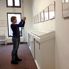 Me, photographing the drawings of Willem den Ouden in the Waalgalerie, Tiel (Elisa1880) Tags: waal waalgalerie tiel elisa willem den ouden tekeningen drawings