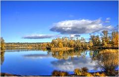 Lac des Eaux bleues (nicphor) Tags: bleu lac see eau water automne herbst nature paysage rhne lyon jonage landscape eos350d canon
