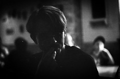 Thinker (JayCob L.) Tags: analog bw blackandwhite blacknwhite contrast film fomapan imperfect imperfection kontrast monochrome pentacon sw schwarzweis scratched think thinking vintage nichtperfekt