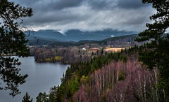 Late Autumn Mood (bjorbrei) Tags: water lake shore valley hills forest trees clouds fog farm maridalen maridalsvannet oslo norway