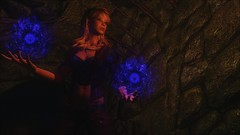 TESV - Conjuiring up a surprise (tend2it) Tags: kenb elder scrolls skyrim v rpg game pc ps3 xbox screenshot sweetfx enb krista demonica race sg lilith 161 felicia arcane mage magic magik cast caster spell green eyes blond hair mods blue orb conjuiring up