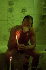 Jef in the Bathroom (tim_asato) Tags: boy man sexy male men guy verde green wet pecs sex bathroom model muscle cigarette smoke handsome hunk cigar modelo smoking trunk bathtub chico vela biceps guapo abs humo baño hombre candel bulge bañera cigarro mojado swet masculino sudor timasato jeffagnard