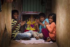 Ganesh Chaturthi, streets of Bangalore (sajansworld) Tags: india cute festival kids happy ganesha child play god prayer pray bangalore slum